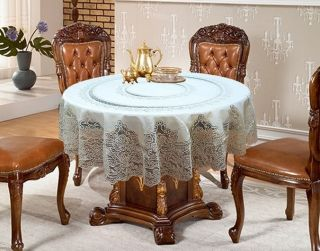 NEW Vintage LUXURY White Round Lace Tablecloth Cloth 180 x 180