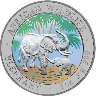 100 Shillings SOMALIA 2007 African Elephant 1oz Silber Farbe Raritaet