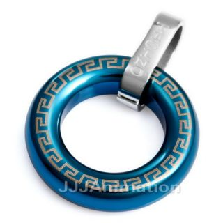 UNIQUE Blue Stainless Steel RING Necklace Pendant vj905