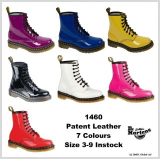 Dr Doc Martens 1460 W Patent Leather Boots 8 Eyelet Pink, Red, Black