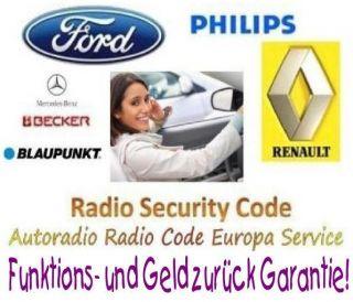 Radio Code Blaupunkt Alfa Romeo Fiat Nissan Peugeot Key Pin