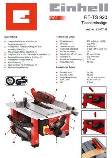 EINHELL RED RT TS 920 Tischkreissäge Kreissäge Säge
