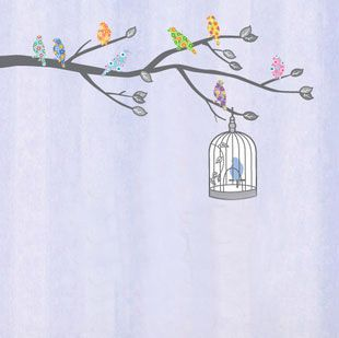 new quality MURAL WALL DECO STICKER BIRD TREE leaf NURSERY KIDS DECALS