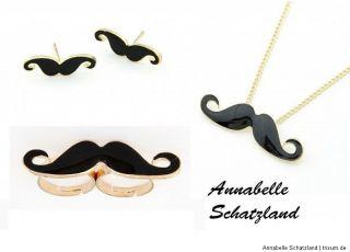 Blogger Schnurrbart Set Schnurbart hipster Moustache Ring Ohrstecker