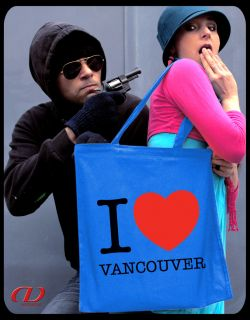 Retro Tasche I LOVE VANCOUVER Stoffbeutel Tote Island Canada Kanada