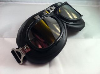 Retro Motorrad Helm Brille DELUXE Version f. Roller Vespa Chopper Mofa