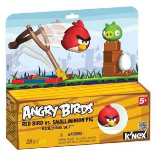 KNEX ANGRY BIRDS RED BIRDS VS SMALL MINION PIG BUILDING SET 28PCS NEW