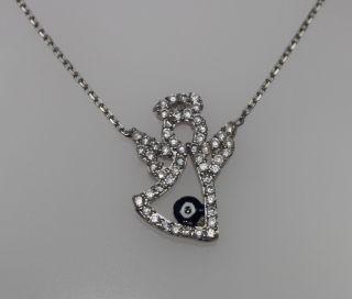 925 Silber,Engel Anhänger,Kette,Nazar Boncuk,Blaue Auge