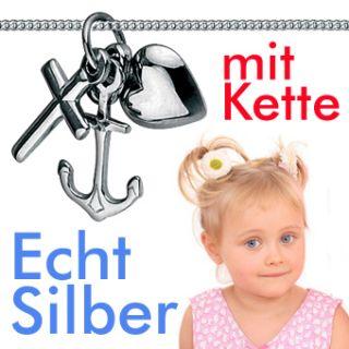 BABY TAUFE Kette GLAUBE LIEBE HOFFNUNG ECHT SILBER 925