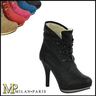 High Heel Schnürer Stiefelette 94945 Damen Schuhe 36 41