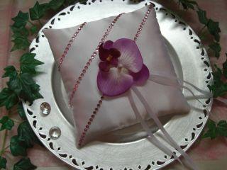 Elegantes Ringkissen Orchidee Satin weiss Hochzeit Ringe Braut NEU