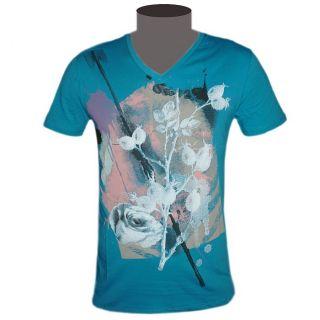 Hugo Boss Orange Label T Shirt Herren V Neck Texus blau Roses Gr. M