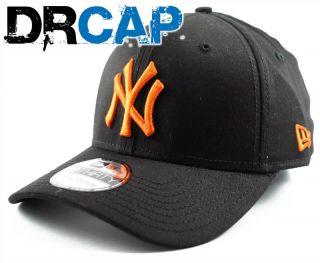 New York NY Yankees MLB Seasonal Basic Stretch Fit Black / Orange