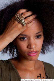 Ring Zweifingerring Doppelring Skelett Hand Farbe Gold Blogger BAGUE