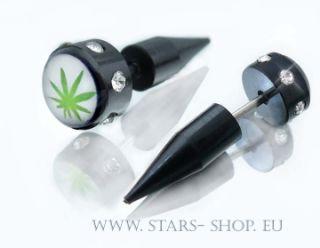 Fake Ohrstecker Plug Expander * Hanf * Cannabis *MS953