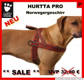 Hurtta PRO Norwegergeschirr rot   Zuggeschirr mit Ringen   Gr. 90 und