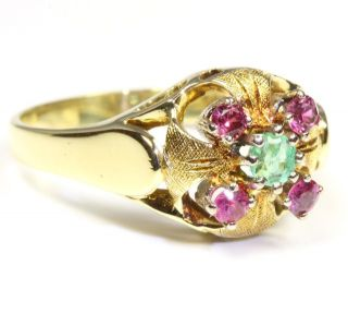 14kt 585 Damen Rubin Smaragd Gold Ring Rubinring Smaragdring Goldring