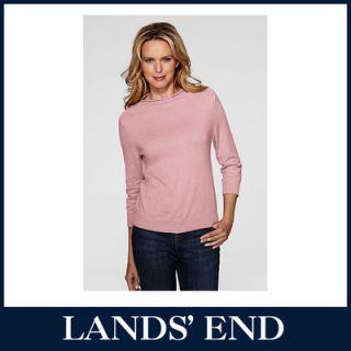 LANDS END Damen Pullover Stehbund Pulli Shirt Langarm Baumwolle *Sale