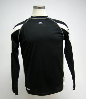New Rawlings Black White Long Sleeve Basball Jersey S