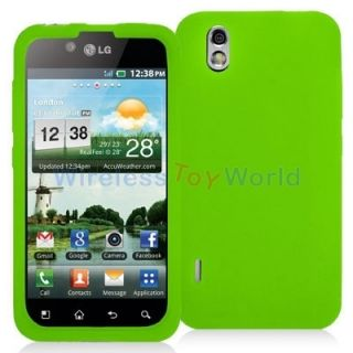 Green Silicone Case Cover for LG Optimus Black P970 Marquee Ignite