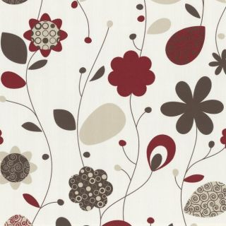 Vlies Tapete Blumen Rot Braun Creme Beige Ranken