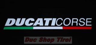 Ducati Corse Aufkleber Sticker Tricolore mit Flagge 120mm Schrift