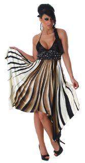 Neckholder Kleid elegant Streifen trendy sexy Party Tanz Abend Kleid