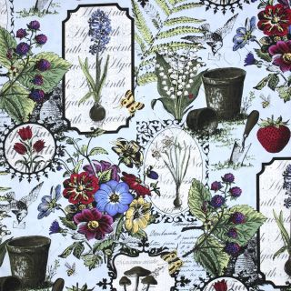 In The Beginning Botanica Botanical Drawings Blue Cotton Quilt Fabric