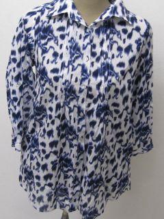 Tolle Bluse Blau Weiss gemustert mit floralen Motiven von Gina Benotti