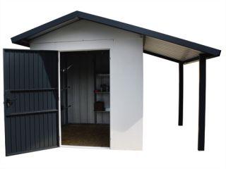 Geräteschuppen Gerätehaus mit Schleppdach. Dekorputz.