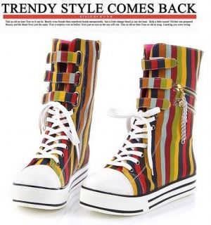 Womens Stylish Lace Up Side Zipper Metal Chain High Top Canvas Shoes