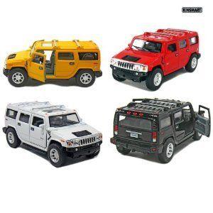 Set of 4 5 2008 Hummer H2 SUV 140 Scale (Black/Red