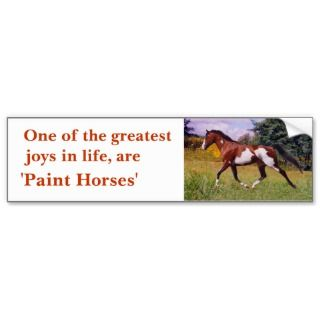 Greatest Joys Paint Horse Bumper Sticker