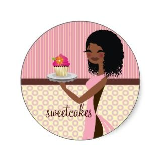 311 Cupcake Cutie   African American Pink Stickers