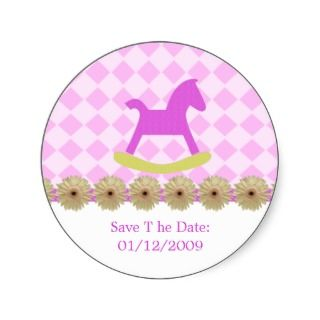 Pink Rocking Horse Stickers Save The Date sticker