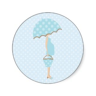 Blue Polka Dots Baby Shower Stickers