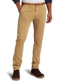 Scotch & Soda Mens Basic Slim Chino Pant With Belt, Sand