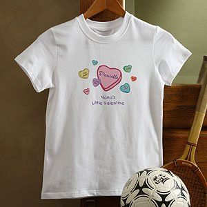 Personalized Valentines Day Kids T Shirt   Candy Hearts