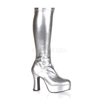 shoes display on website 4 inch heel platform gogo boot silver str