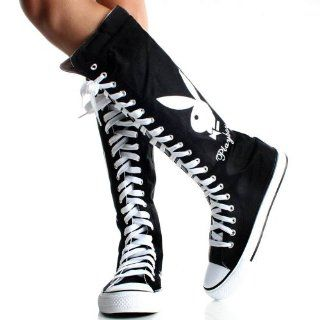 Playboy Bunny Lace up Knee High Boots Black Canvas Womens Sneakers