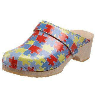 Womens Puzzle Piece Wooden Swedish Clog,Red/Blue/Yellow,5 M US Shoes