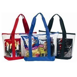 Large Clear Tote Bag with Zipper Closure (Black) Clothing