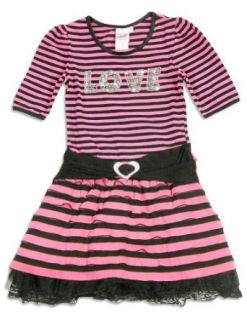 Girls   Girls 3/4 Sleeve Striped Dress, Pink, Black 24287 16 Clothing