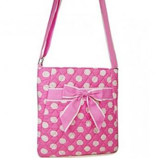Dasein Quilted Polka Dot Messenger Bag w/ Ribbon Accents
