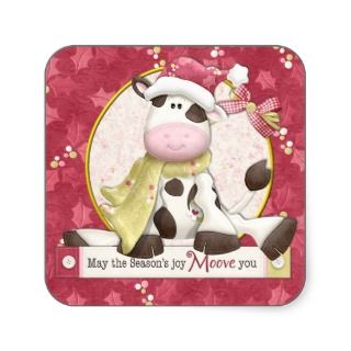 Cute Cow in Santa Hat Christmas Gift Sticker