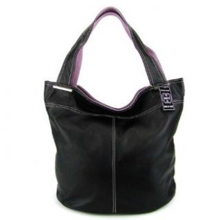 COSETTE Italian Made Black Leather Designer Bucket Handbag