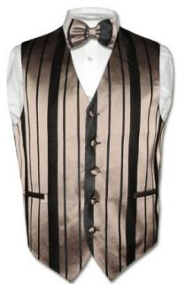 Mens Dress Vest & BOWTIE Taupe / Light Brown Woven Stripe