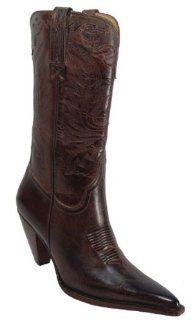 Womens Western Cowboy Boots Shoes Leather Crazy Horse Brown Shoes