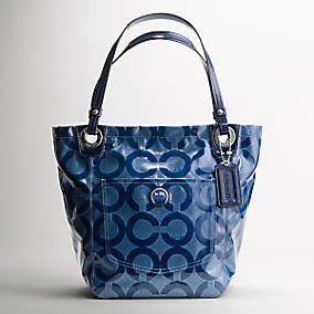 Signature Coated Op Art Alex Coated Shopper Bag Purse Tote Blue Shoes