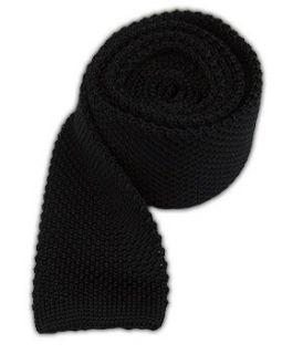 100% Silk Knit Black Skinny Tie Clothing